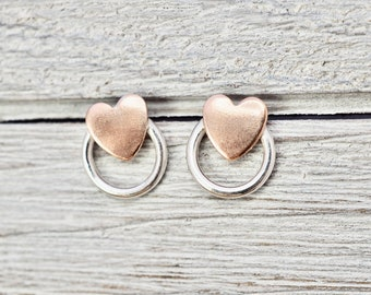 Little copper heart and silver studs   Sterling silver and pure copper heart earrings   Copper jewellery   Mothers day gift