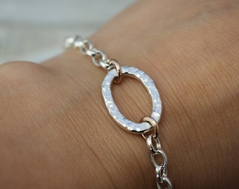 Silver bracelet with rose gold links | Solid Sterling silver bracelet | Sterling silver handmade jewellery | Gift for her | Mothers day gift