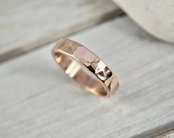 Chunky rose gold ring   Hammered rose gold-filled ring   Handmade jewellery   Rose gold-fill ring   Thick gold ring   Gift for her   Wedding