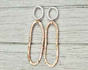 Sterling silver and copper dangly earrings   Hammered copper and silver earrings   Copper jewellery   Statement jewellery   Gift for her