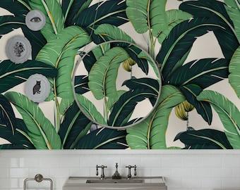Botanical #3 Banana leaves wall decor Large Banana leaf wallpaper Floral mural Removable wall art prints leaves