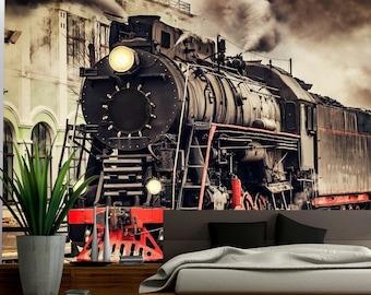 train à vapeur Vintage chambre à coucher train 3d murale Wall Art Decal Autocollant