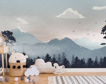 Removable Mountain Wall Decal  Wave Wall Mural  Mountain Mural  Nursery Wall Decor  Peel and Stick
