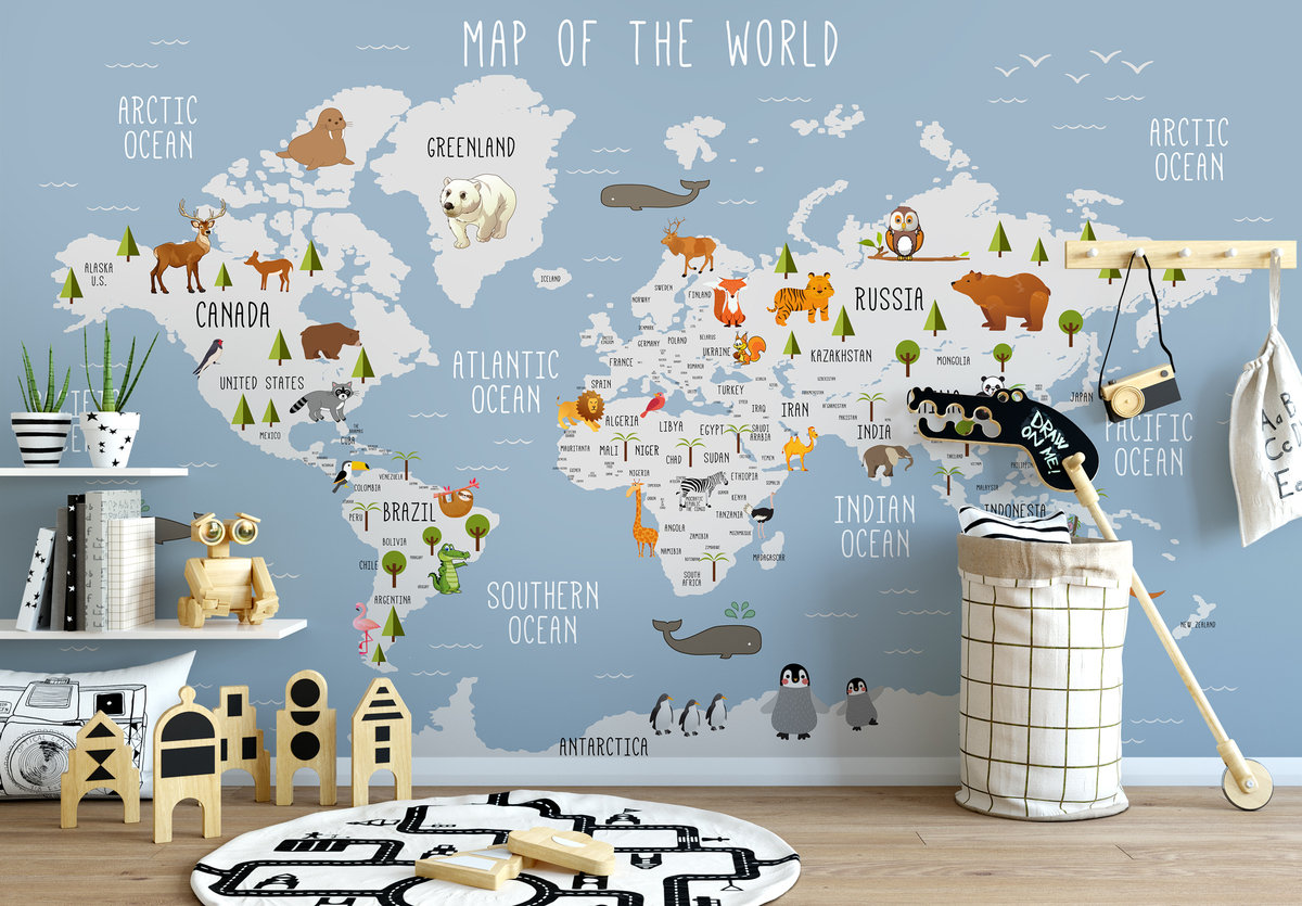 Details about  /3D Colorful World Map 3461 Wallpaper Decal Dercor Home Kids Nursery Mural Home