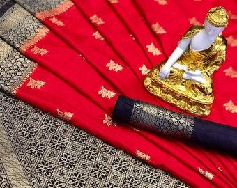 women/'s saree Pure dola saree designers saree golden zari work saree saree blouse jecard weaving saree, brown saree bridal saree