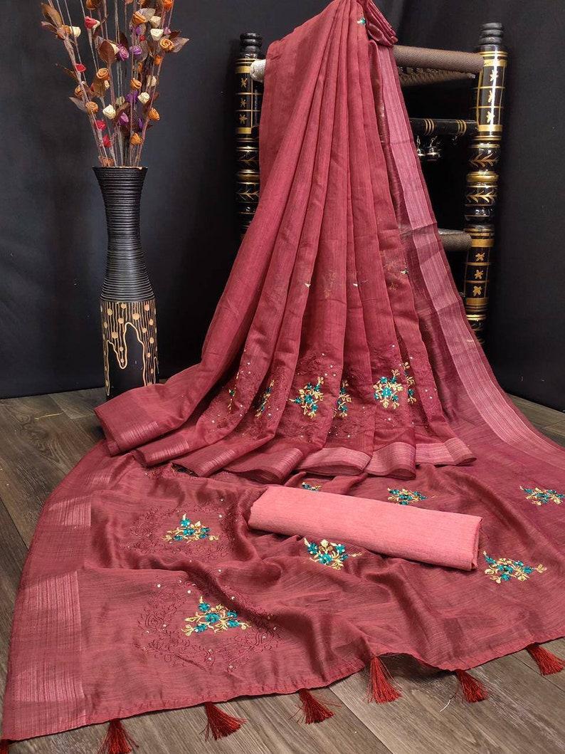 women/'s saree designers saree embroidery work saree stone work saree Cotton patta silk saree saree blouse,bridal saree maroon saree