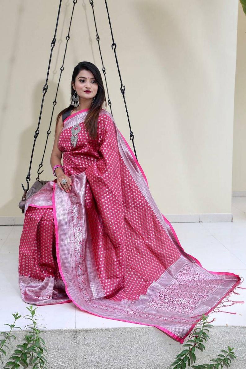 red saree soft silk saree wedding saree saree blouse,designers saree Lichi silk saree silvar zari work saree jecard weaving saree