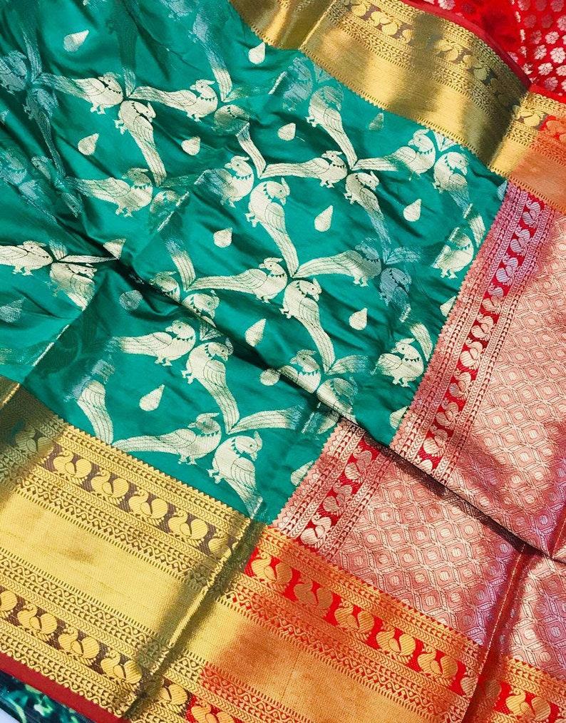 designers saree saree blouse bridal saree green saree sari women/'s saree jecard weaving saree Kanchipuram silk saree handloom saree