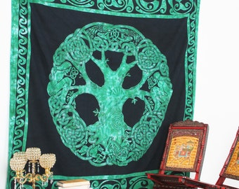 Tree Of Life Wall Hanging Indian Cotton Tapestry Poster Size Green Decor Throw 42 X 32 Inches