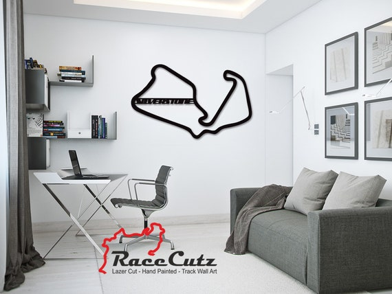 LARGE Laser Cut SilverstoneTrack Wall Art, Hand Painted With Stainless Steel Standoffs With or Without Text