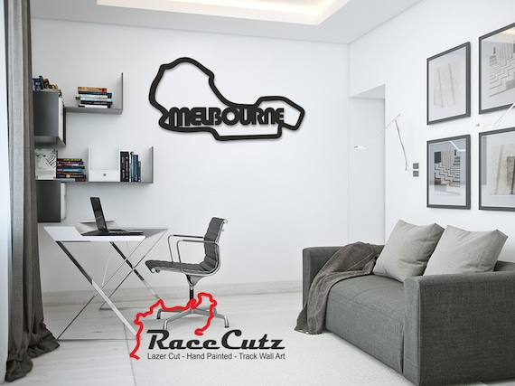 LARGE Laser Cut MELBOURNE Track Wall Art, Hand Painted With Stainless Steel Standoffs With or Without Text