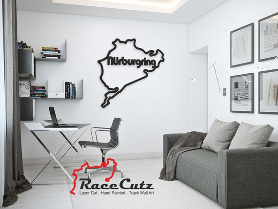 LARGE Laser Cut Nurburgring Track Wall Art, Hand Painted With Stainless Steel Standoffs With or Without Text