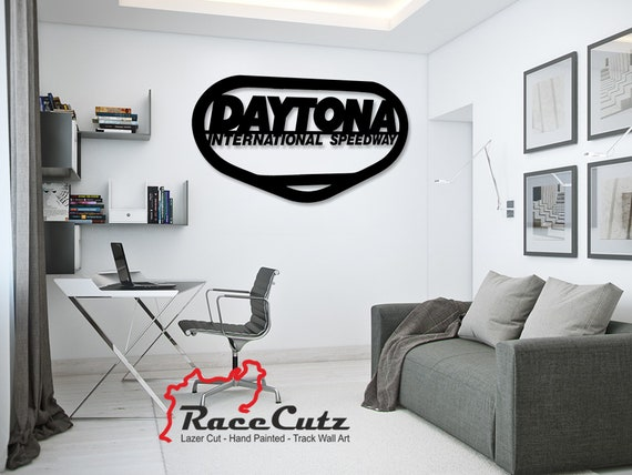 LARGE Laser Cut DAYTONA International Speedway Track Wall Art, Hand Painted With Stainless Steel Standoffs With or Without Text