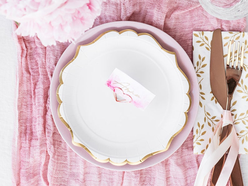 Engagement Party Wedding Plates 6 White Paper Plates with Gold Birthday Party Decor Neutral Baby Shower Tableware Birthday Party Plates
