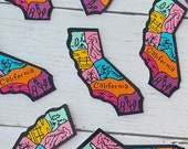 California Patch, USA State Patch, American, Multi-Colored, Landscapes, Beach, Mountains, Iron-On Patch, Jacket Patch, Patch for Jacket, DIY