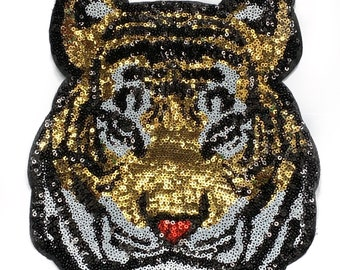 Heart Pattern Cat Love Sequined Reversible Change Color Patch Sew On Applique VJ