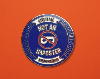 Imposter Syndrome Enamel Pin   Paper Hat Design Co