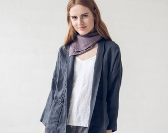 Reversible Jacket  Linen Jacket  Linen Blazer for Women  Casual Jacket for Women  Wrap Top for Women  Dressy Jacket  Black Jacket