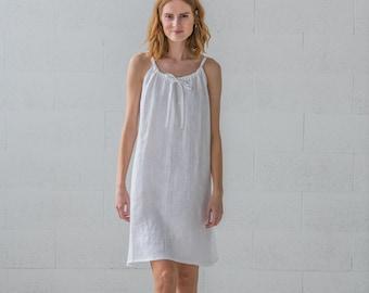 Minimalist Clothing Loose Nightdress Linen Nightgown Linen Sleepwear Blue Linen Sleeping Dress Linen Clothing Linen Night Dress