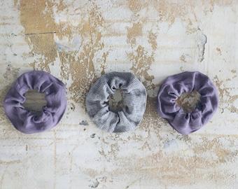 Set of 2 Linen Hair Scrunchies, GET 1 FREE,  Small Linen Hair Tie, Zero Waste Linen, Handmade Gift Set