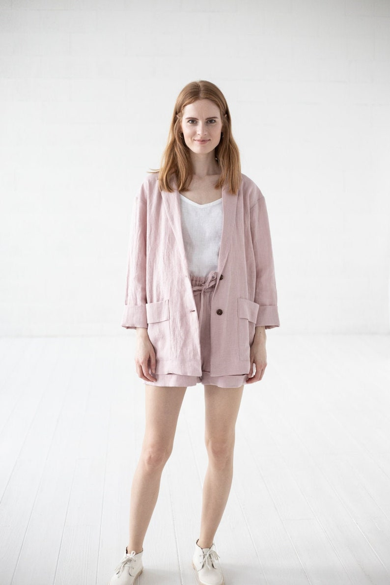 Loose Casual Jacket READY TO SHIP Linen Blazer For Women Classic Linen Jacket