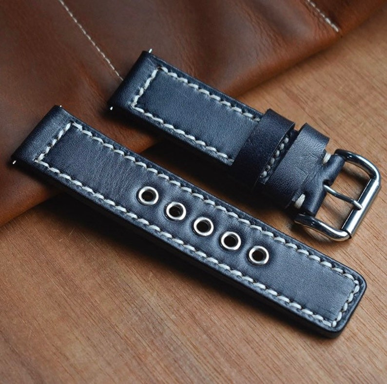 Thick Vintage 5 Hole  Full Grain Genuine Leather Watchband  Stainless Buckle  Colour As Shown  Size Options