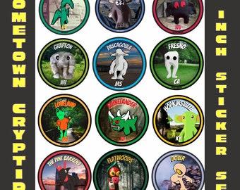 """Hometown Cryptids 2"""" sticker set"""