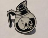 Coffee Pot Skull Enamel Pin