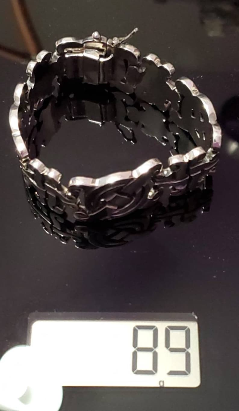 Signed PJH TJ-28 .925 Mexico Chunky Vintage Taxco Sterling Silver Link Bracelet Pristine Perfect for the Holidays! New
