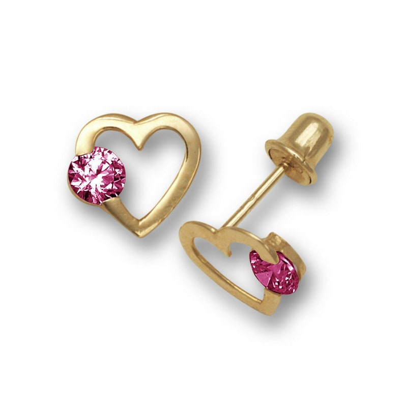 14k Yellow Gold CZ Open Heart Stud Earrings