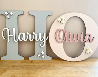 Hand Carved Wooden Embossed Flower Detail Letters 20cm High Plaque Sign
