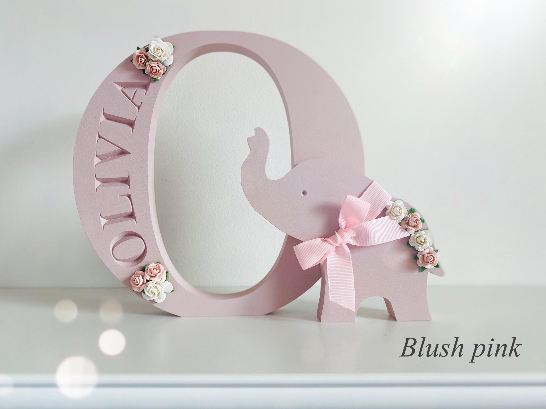 Personalised Engraved Freestanding Letter Name Elephant Animal Jungle Nursery