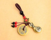Handmade Rope Lucky Feng Shui Hanging Vintage Brass Money Bag Keychain Pendant Jewelry Ancient Five Emperors Coins Car Key Chain