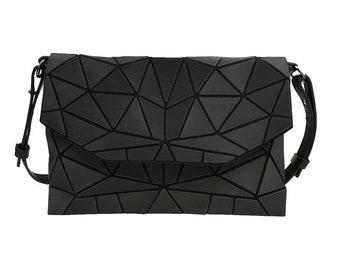 Geometric Matte PU Shoulder Bag / PU Leather Shoulder Bag / Lattice Shoulder Bag / Crossbody Bag / Vegan Shoulder Bag
