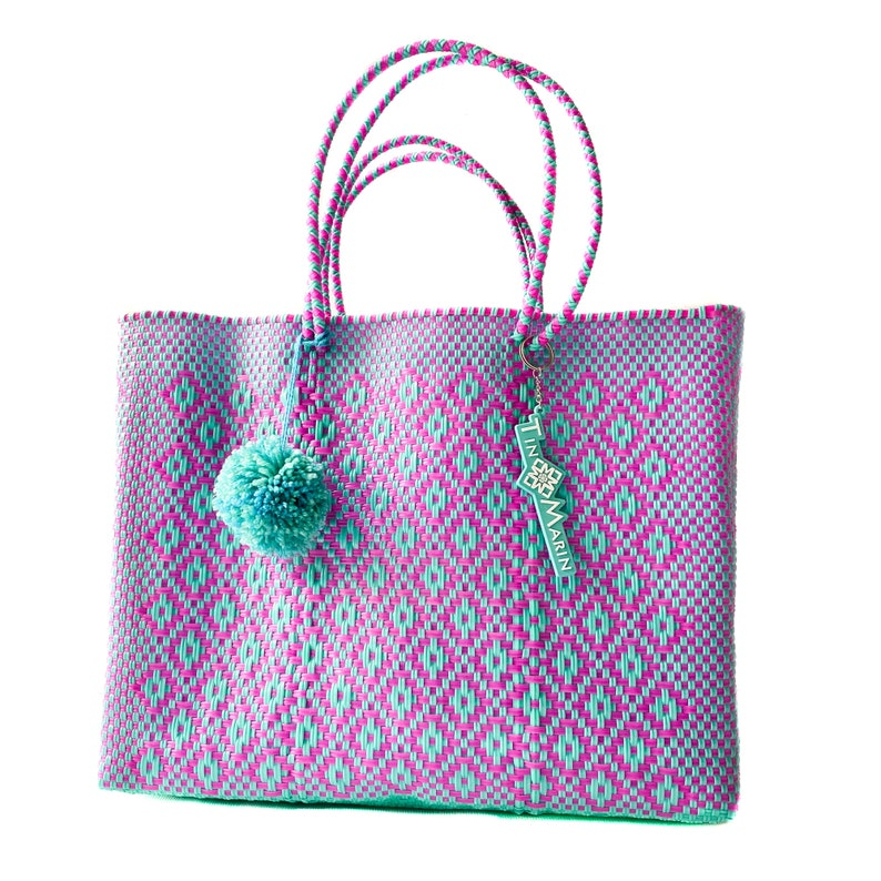 Handwoven Recycled Mexican Plastic Summer Beach Bag