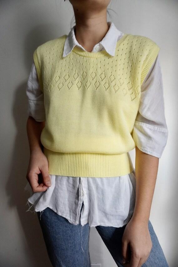 Vintage Lemon Pointelle Sweater Vest