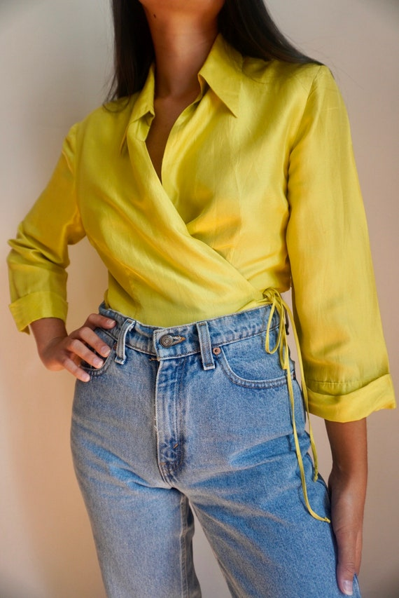 Vintage Chartreuse Silk Wrap Top