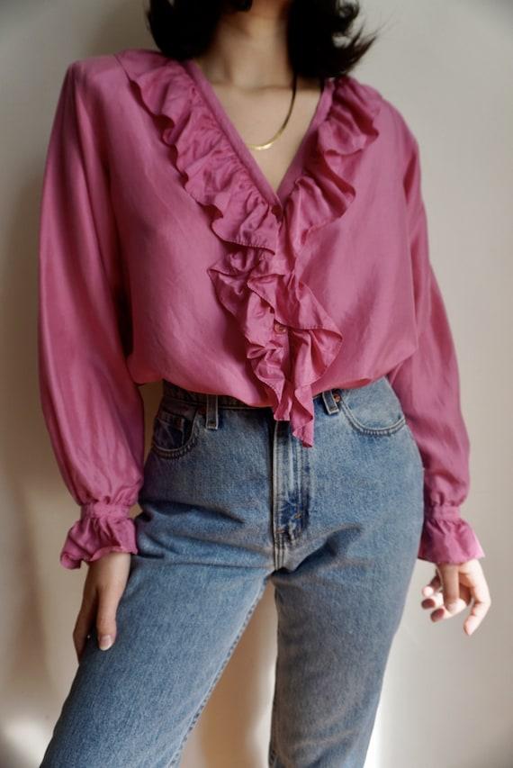 Vintage Ruffle Front Silk Blouse - image 3
