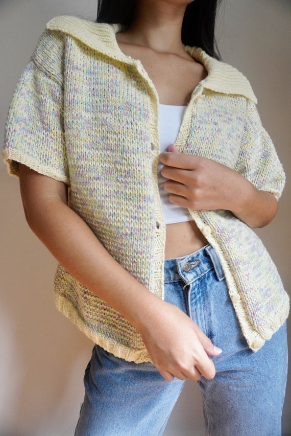 Vintage Funfetti Knit Short Sleeve Cardigan