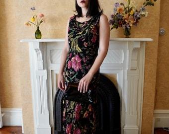 Vintage Black Beaded Floral Dress