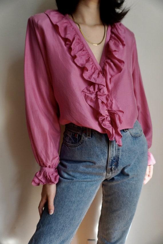Vintage Ruffle Front Silk Blouse - image 1