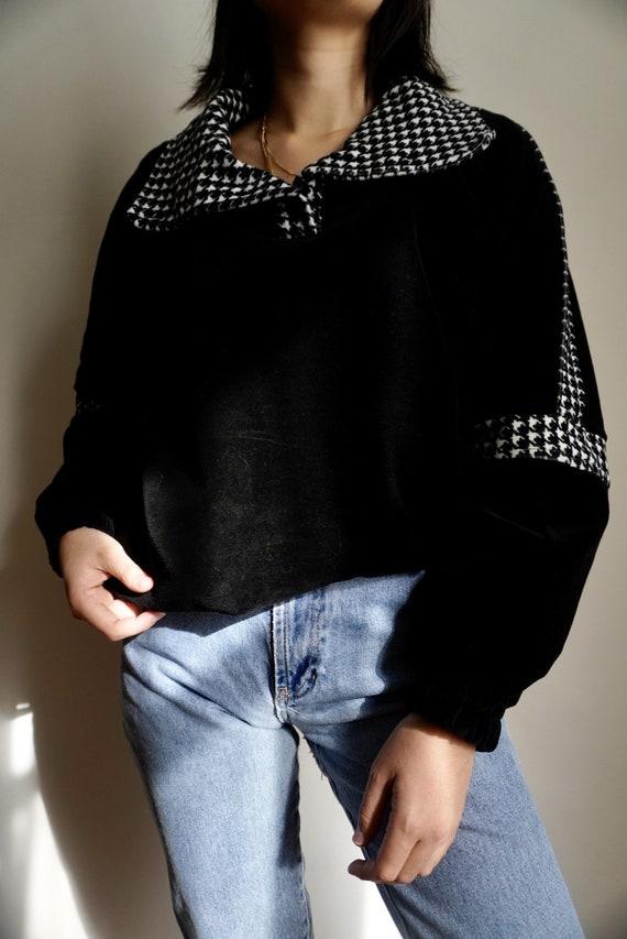 Vintage Plush Houndstooth Pullover