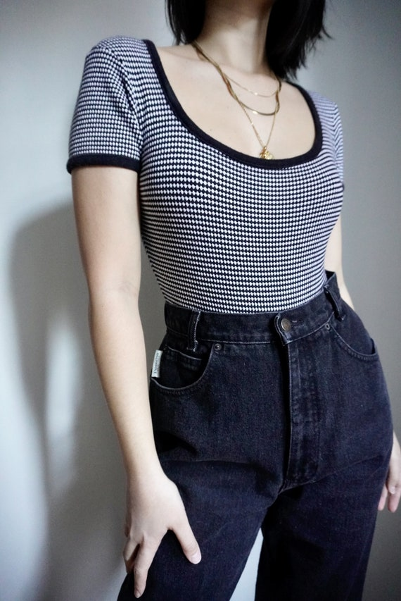 Vintage B&W Checkered Bodysuit