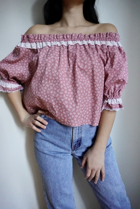Vintage Puff Sleeve Floral Top