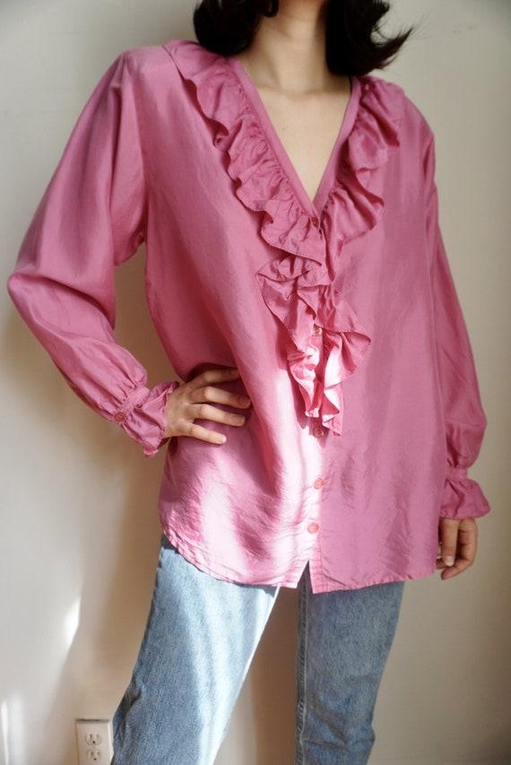 Vintage Ruffle Front Silk Blouse - image 2
