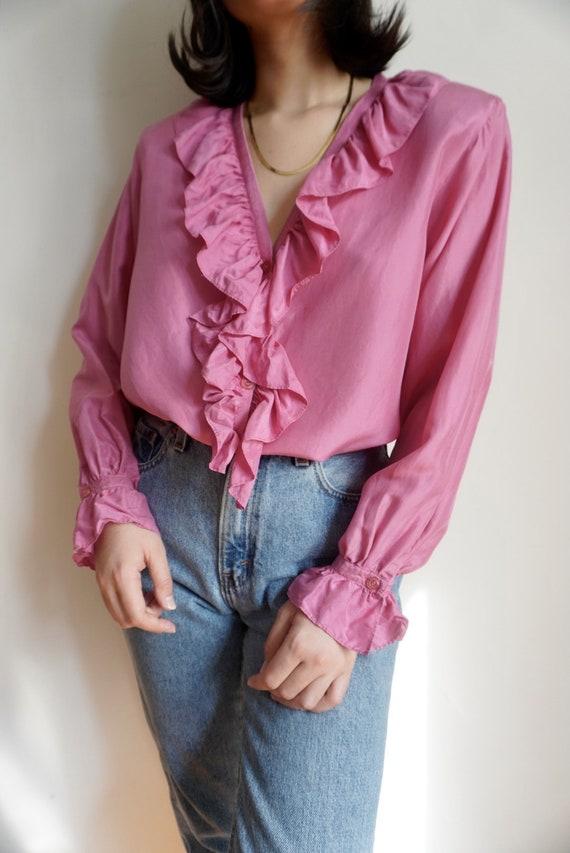 Vintage Ruffle Front Silk Blouse - image 4