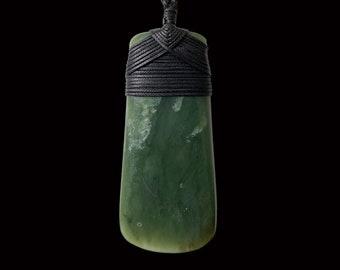 Toki-Hand Carved Jade Toki (adze) with traditional Māori Hei Toki Lashing