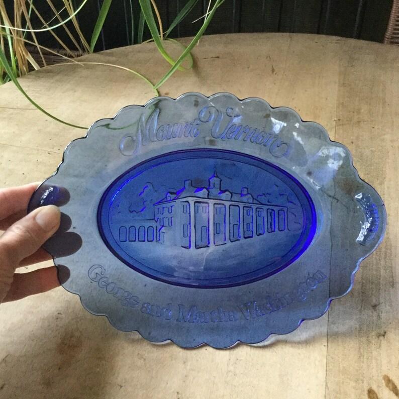 Avon Mount Vernon Blue Glass Collector Plate