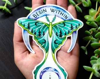 Begin Within - Vinyl Sticker Art - Luna Moth Nature Forest Witchy Moon Watercolor