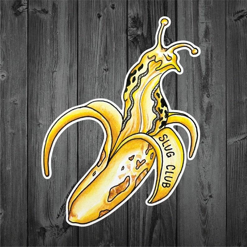 Vinyl Sticker Art Banana Slug Nature Forest PNW Outdoor Watercolor Slug Club